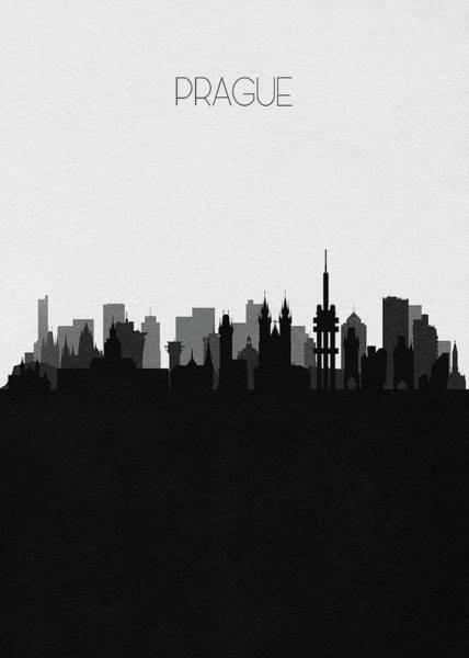 Digital Art - Prague Cityscape Art by Inspirowl Design