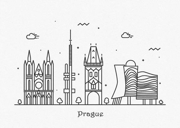 Wall Art - Drawing - Prague Cityscape Travel Poster by Inspirowl Design