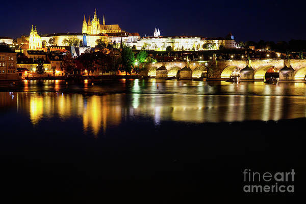 Wall Art - Photograph - Prague Landmarks At Night by DAC Photo