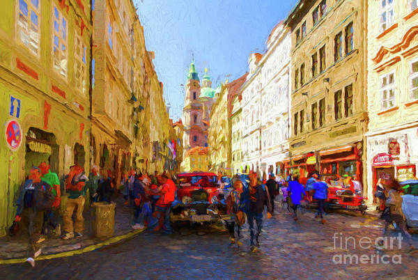 Digital Art - Prague - Mostecka Street by Les Palenik