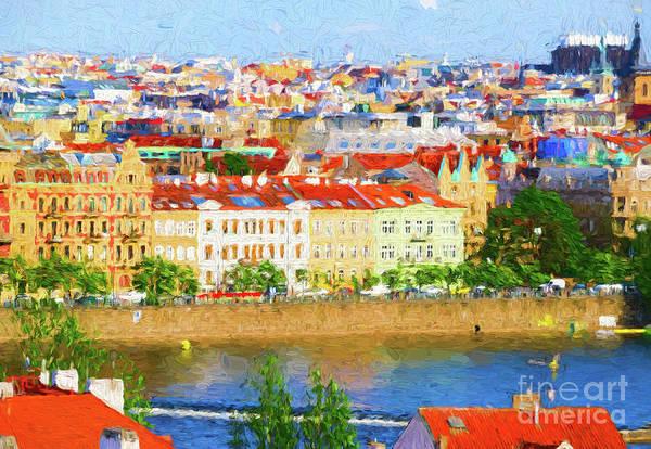 Digital Art - Prague - Painterly by Les Palenik