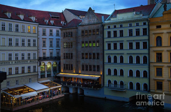 Photograph - Prague Restaurants Near Charles Bridge At Night by Les Palenik