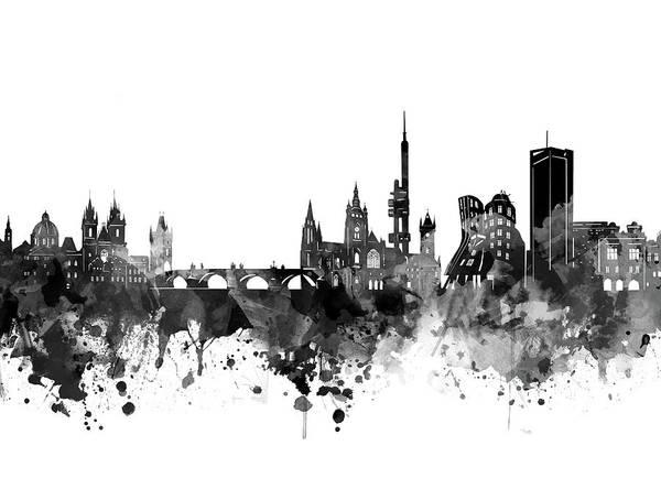 Czech Digital Art - Prague Skyline Bw by Bekim M