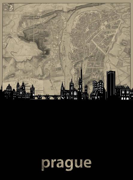 Czech Digital Art - Prague Skyline Map by Bekim M