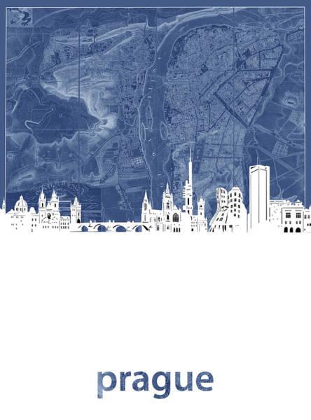 Czech Digital Art - Prague Skyline Map Blue by Bekim M