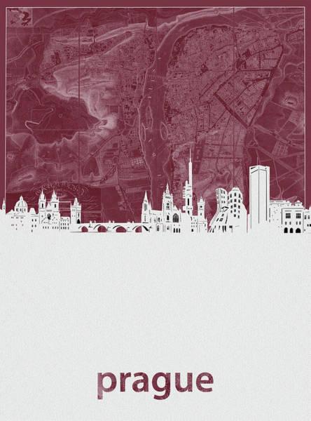 Czech Digital Art - Prague Skyline Map Red by Bekim M