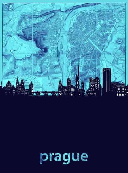 Czech Digital Art - Prague Skyline Map Turquoise by Bekim M