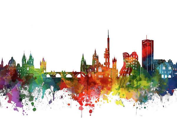 Czech Digital Art - Prague Skyline Watercolor 2 by Bekim M