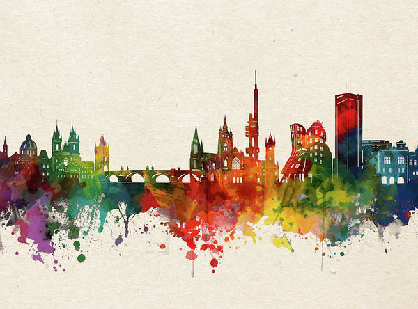 Wall Art - Digital Art - Prague Skyline Watercolor by Bekim M