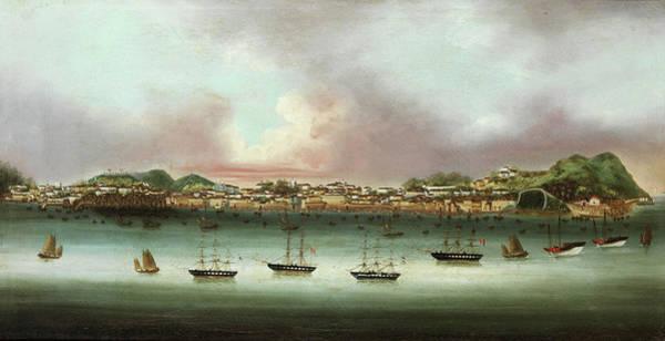 China Town Painting - Praia Grande - Macau by 19th Century