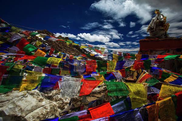 Hanging Rock Photograph - Prayer Flag At Khardung-la Pass by Athit Perawongmetha