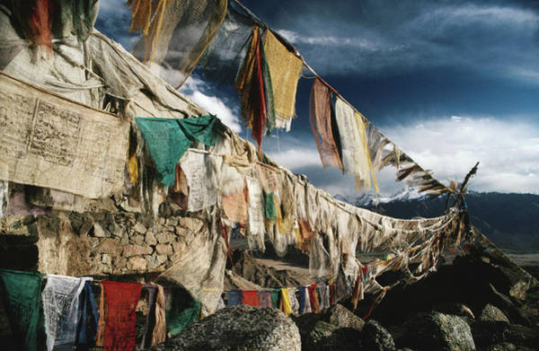 Mountain Photograph - Prayer Flags Above Leh, Ladakh, Leh by Richard I'anson