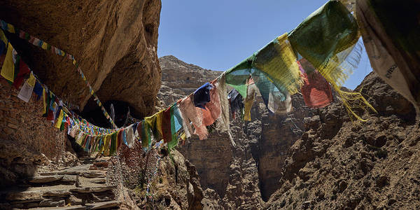 Wall Art - Photograph - Prayer Flags At The Entrance by Panoramic Images