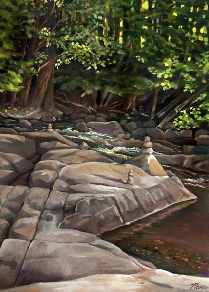 Painting - Prayer Stones On The Pemigewasset New Hampshire by Nancy Griswold