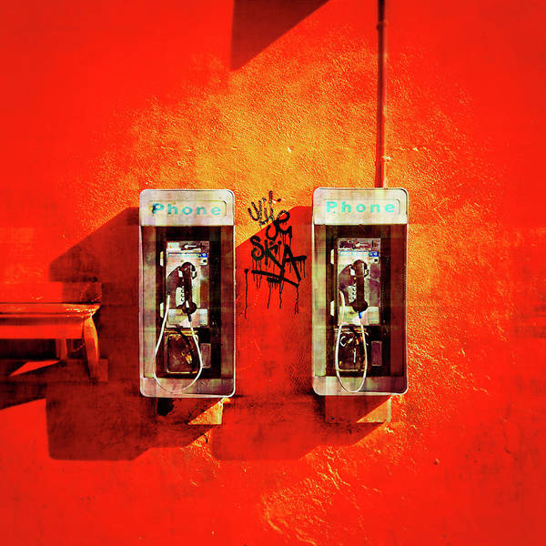 Pay Photograph - Prcssd Payphones On A Red Wall by Eyetwist / Kevin Balluff