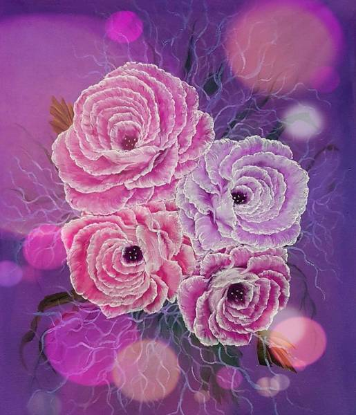 Wall Art - Painting - Precious Roses Pink Stardust  by Angela Whitehouse