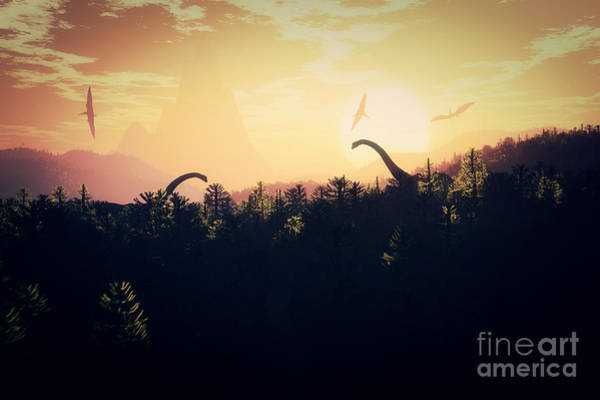 Haunted Wall Art - Digital Art - Prehistoric Jungle With Dinosaurs In by Boscorelli
