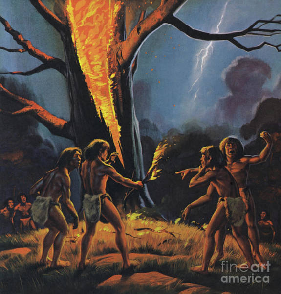 Lightening Painting - Prehistoric Man And Fire by Angus McBride