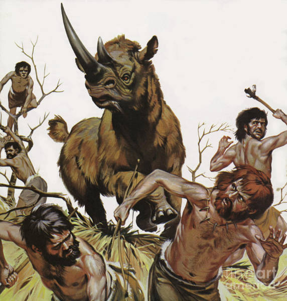 Wall Art - Painting - Prehistoric Wooly Rhinoceros Hunt  by Angus McBride