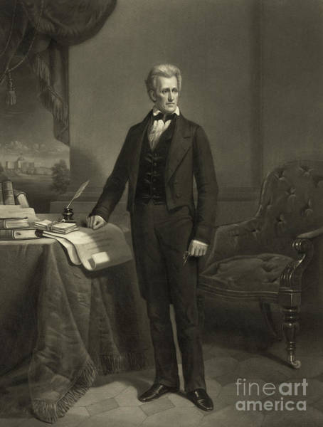 Wall Art - Drawing - President Andrew Jackson, Circa 1860 Engraving by Alexander Hay Ritchie