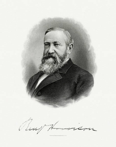 U. S. Presidents Wall Art - Painting - President Benjamin Harrison by The Bureau of Engraving and Printing