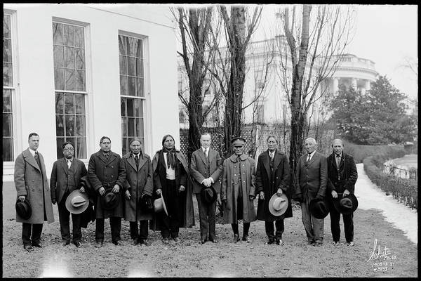 Delegation Photograph - President Coolidge With Delegation by Fred Schutz Collection