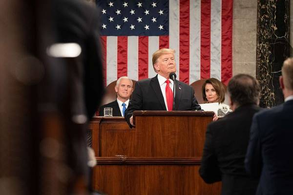 Trump Cartoon Painting - President Donald J. Trump Delivers His State Of The Union Address At The U.s. Capitol 2 by Celestial Images