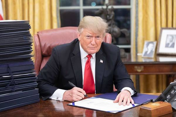 Wall Art - Painting - President Donald J. Trump Is Seen At His Desk In The Oval Office With A Stack Of Documents Awaiting  by Celestial Images