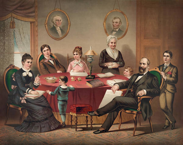 Wall Art - Painting - President Garfield And His Family - 1881 by War Is Hell Store