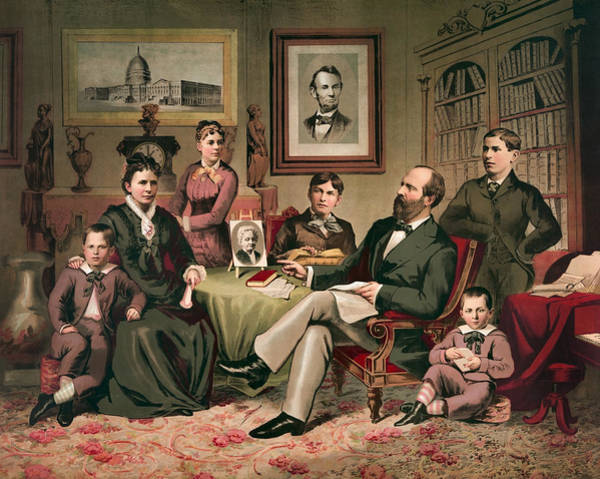 Wall Art - Painting - President Garfield And His Family  by War Is Hell Store