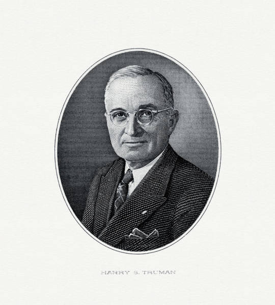 U. S. Presidents Wall Art - Painting - President Harry S. Truman by The Bureau of Engraving and Printing