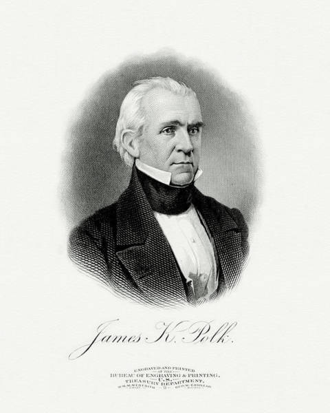 Wall Art - Painting - President James Knox Polk by The Bureau of Engraving and Printing