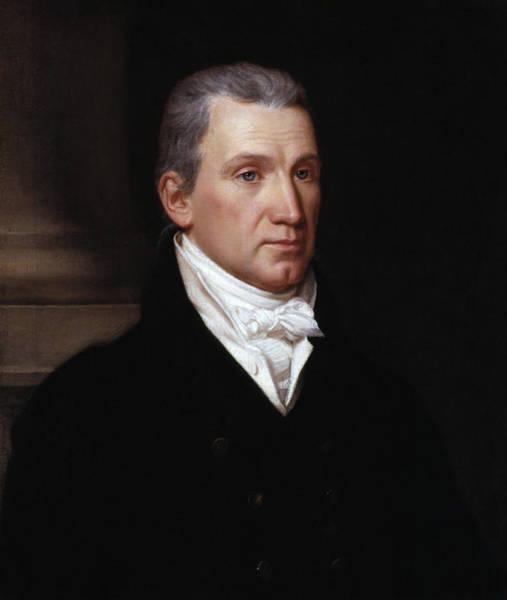 Wall Art - Painting - President James Monroe Portrait - John Vanderlyn - 1816 by War Is Hell Store