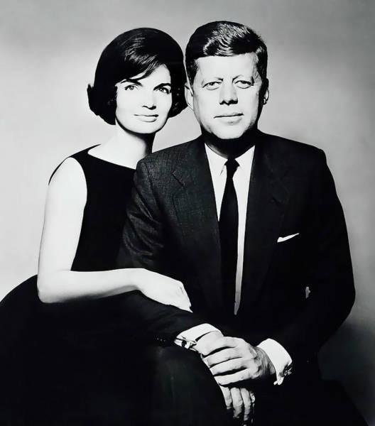 Wall Art - Digital Art - President John F. Kennedy And First Lady Jackie Kennedy by Daniel Hagerman