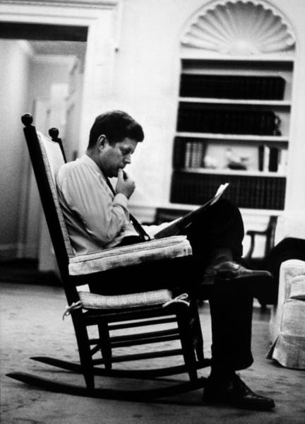 Us President Photograph - President John F. Kennedy Sitting by Paul Schutzer