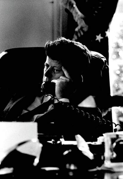 Us President Photograph - President Kennedy On The Telephone by Art Rickerby