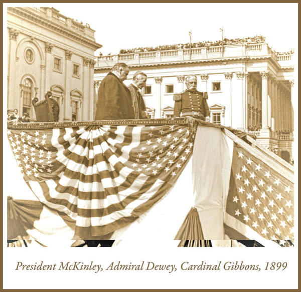 Photograph - President Mckinley, Admiral Dewey, Cardinal Gibbons, 1899, Vinta by A Gurmankin