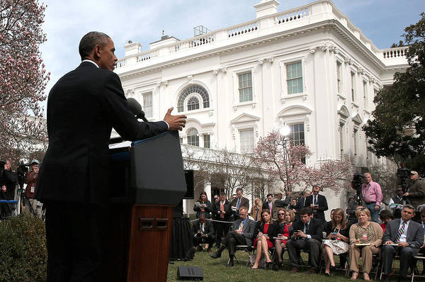 White Rose Photograph - President Obama Makes Statement On by Win Mcnamee