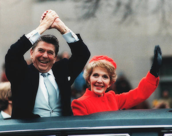 Wall Art - Photograph - President Ronald Reagan And Wife Nancy At The Innauguration Para by Mountain Dreams