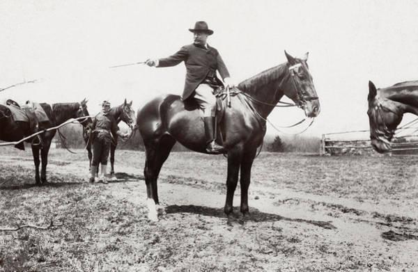 Wall Art - Photograph - President Roosevelt Horseback Riding - 1907 by War Is Hell Store