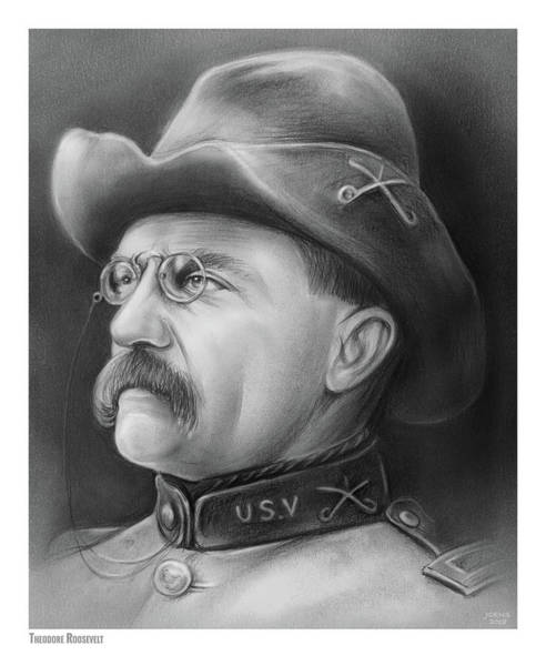 Wall Art - Drawing - President Teddy Roosevelt by Greg Joens