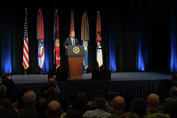 Wall Art - Painting - President Trump Delivers Remarks At The Pentagon 2 by Celestial Images