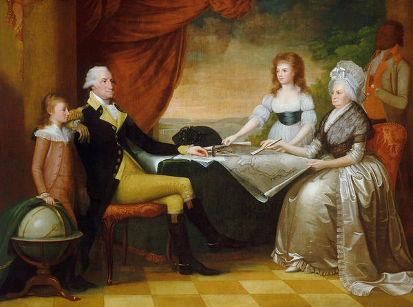 1776 Painting - President Washington And His Family - Edward Savage by War Is Hell Store