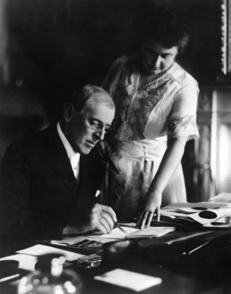 Democratic Party Photograph - President Wilson And First Lady Edith - 1920 by War Is Hell Store