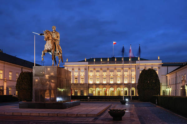 Wall Art - Photograph - Presidential Palace In Warsaw At Night by Artur Bogacki