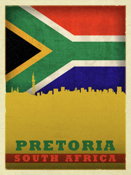 Wall Art - Mixed Media - Pretoria South Africa City Skyline Flag by Design Turnpike