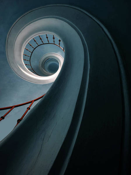 Wall Art - Photograph - Pretty Blue Spiral Staircase by Jaroslaw Blaminsky