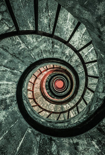 Photograph - Pretty Green Spiral Staircase by Jaroslaw Blaminsky