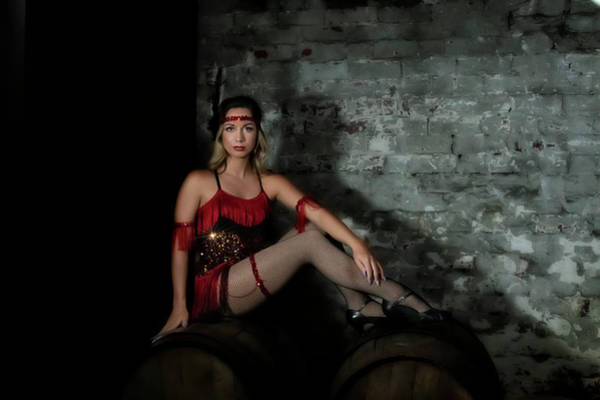 Photograph - Pretty Lady In Red On Wine Barrels by Dan Friend