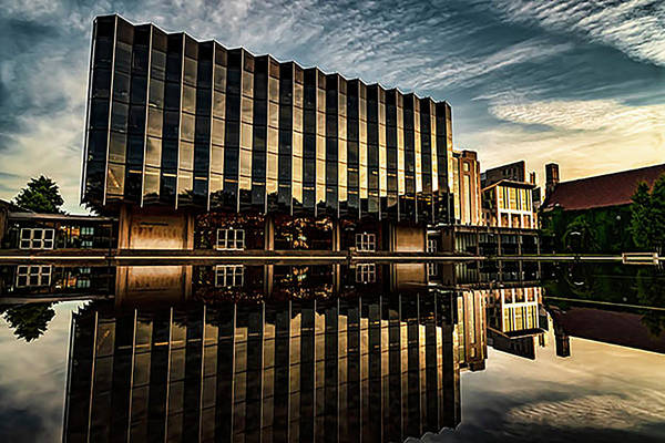 Photograph -  Pretty Building With Reflection Pool Near Sunset by Sven Brogren